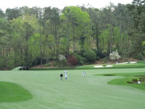 A view of the 12th Green and 13th Fairway during a Practice Round at August National Golf Club