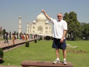 Visiting the Taj Mahal in Agra, India.