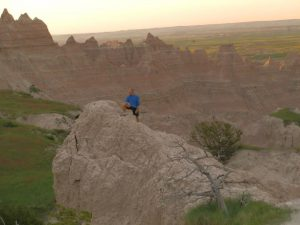 In the morning, Doug in the Badlands.
