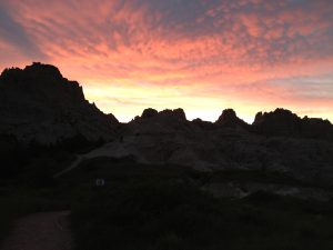 Sunset in the Badlands.